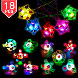 PROLOSO Light Up LED Rings Necklaces Bracelets with Gyro Fidget Spiral Twister Toys Glow In The Dark Party Favors Pack of 18