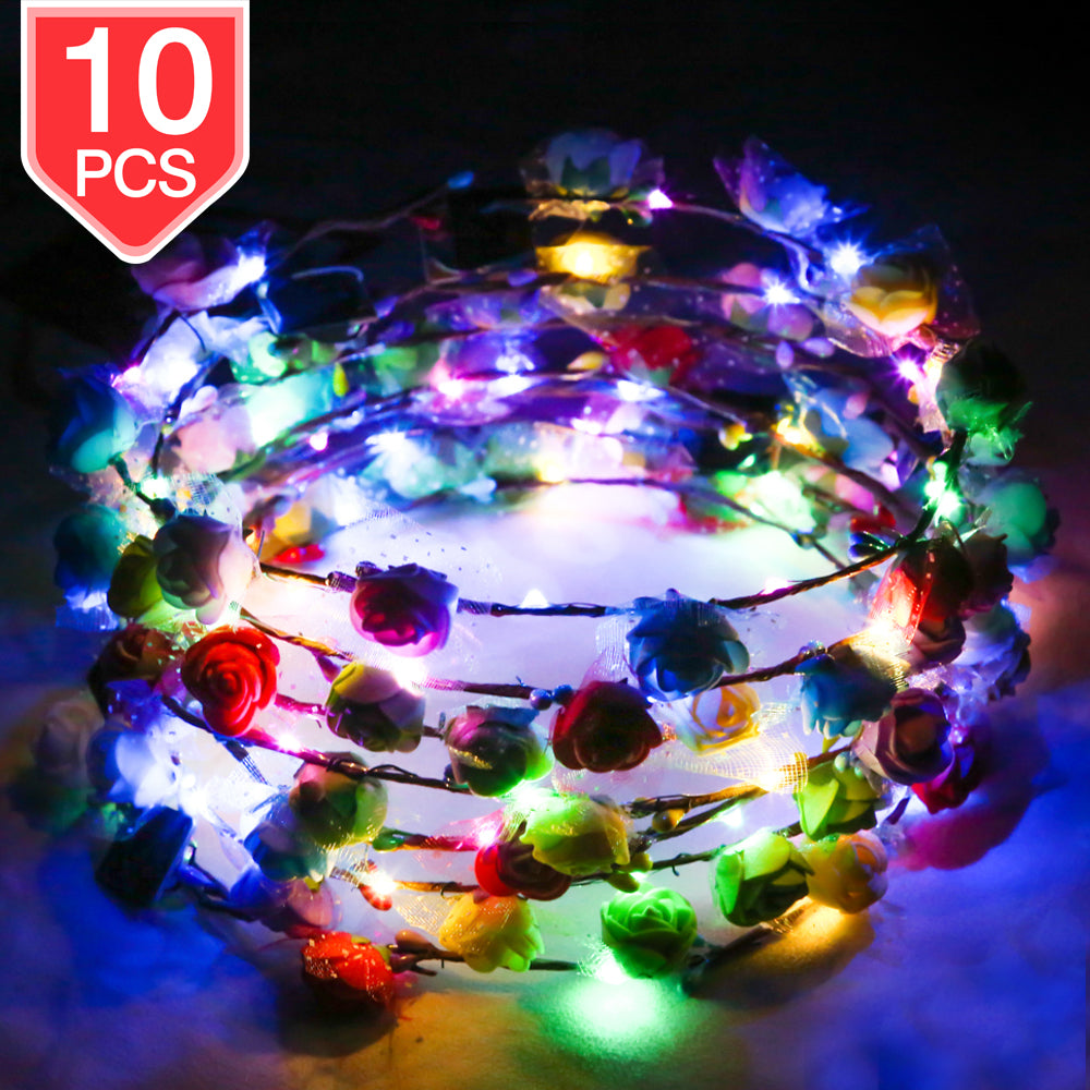PROLOSO LED Flower Crown Light Up Foam Flower Wreath Headband Glow in The Dark Headpiece Headdress Party Supplies for Wedding Festival Party 10 Pcs