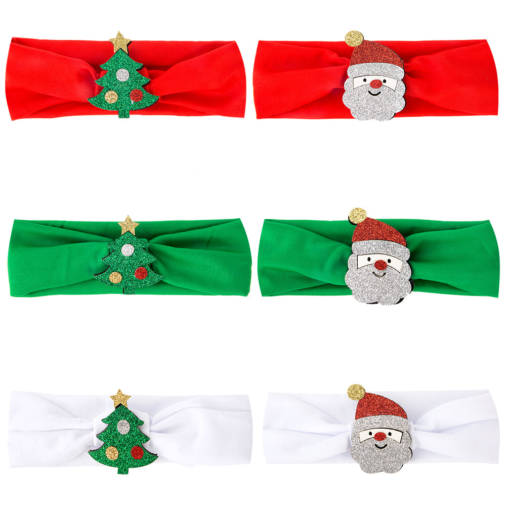 PROLOSO Christmas Headband Santa Claus Hair Band Headwrap Xmas Headwear Pack of 6 …