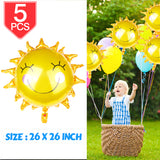 PROLOSO 26 inch Sunflower Foil Balloons Shiny Gold Sun Party Decoration, 5 Pcs