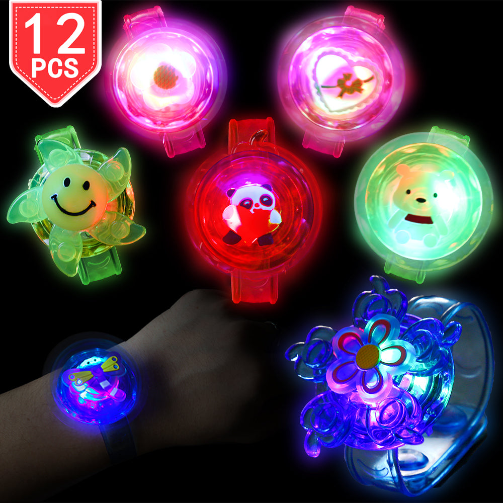 PROLOSO LED Bracelets with Gyro Spiral Twister Toys Light Up Fidget Toys Glow in The Dark Party Wristbands Pack of 12