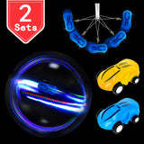 PROLOSO Mini High Speed Cars Stunt Racers- USB Rechargeable LED Light Up Race Cars Glow in The Dark Pocket Spinner Toys with Keychain 2 Sets