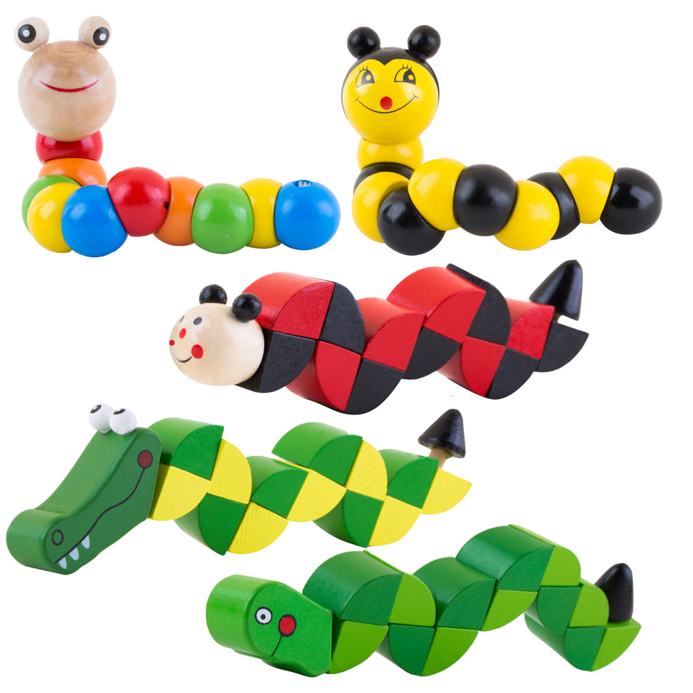 PROLOSO 5 Pack Wooden Wiggling Worms Twistable Animals Grasping Fidget Toys for Kids Early Learning