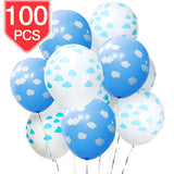 PROLOSO Blue & White Clouds Latex Balloons for Baby Shower Birthday Party Ceremony Decorations 100 Pcs