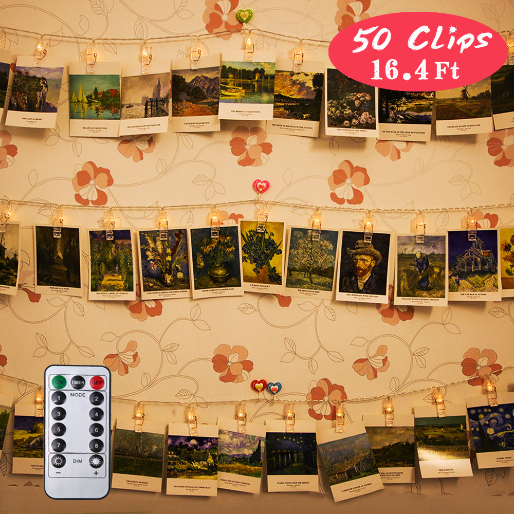 PROLOSO Photo Clips String Lights LED Decoration Light Up Card Display Picture Holder 16.4Ft, 50 Clips, 8 Modes, Warm White with Remote Control