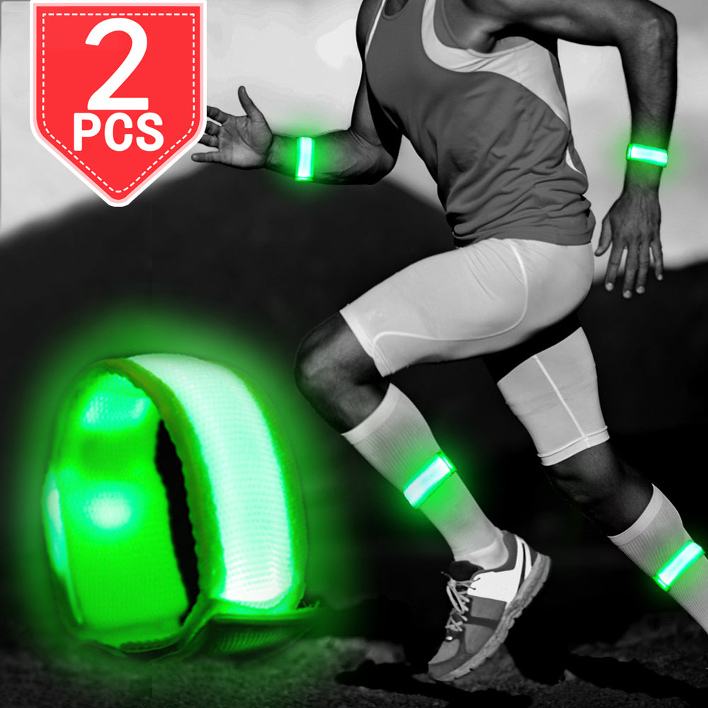 PROLOSO LED Rechargeable Beacelets Light Up Sport Armband USB Reflective Night Safety Lights Pack of 2 for Night Running, Jogging, Hiking, Cycling, or Motorcycling