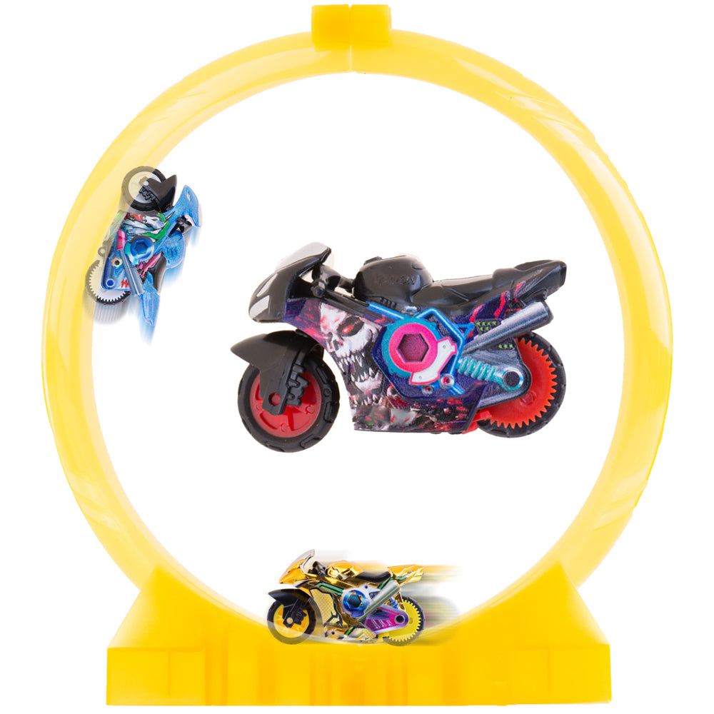 PROLOSO Push & Go Inertia Vehicles Friction Powered Toy Cars Spin- Go Racing Motorcycles with Track for kids (Set A)