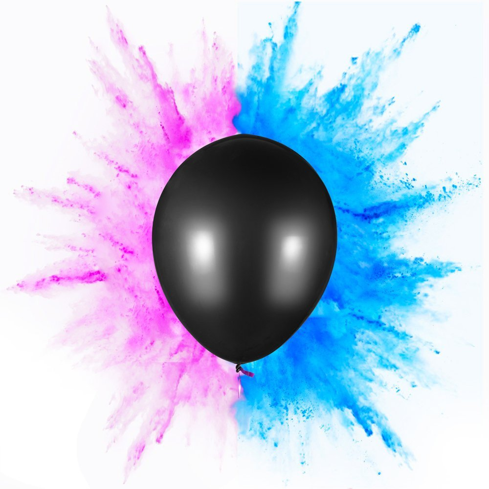 "PROLOSO Gender Reveal Exploding Balloon Set (Pink & Blue Powder) - Perfect For Boy or Girl Party Pack (Jumbo 36"")"