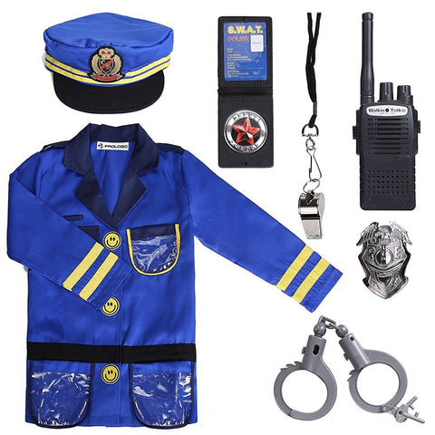 PROLOSO Police Officer Costumes Role Play Kit, Ages 3-6 Years