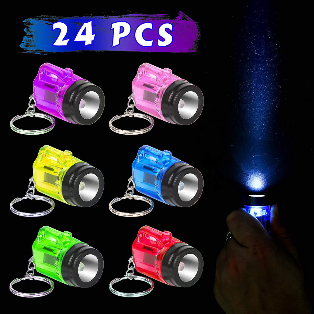 PROLOSO Mini Plastic Flashlight Keychain Kids Party Favors Toys 24 Pcs