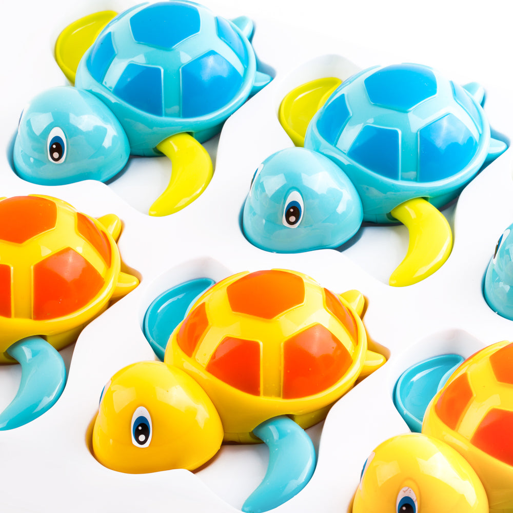 PROLOSO 6 Pack Wind Up Toys Bath Tub Turtle Kids Gift Set