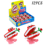 PROLOSO 12 Pack Wind up Toys Chattering Babbling Teeth Rose Clockwork Playset