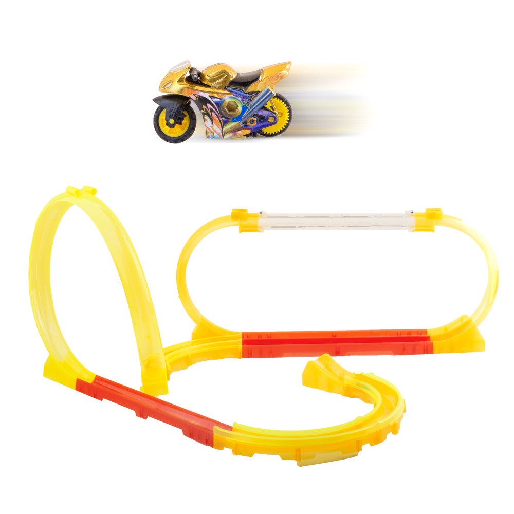 PROLOSO Friction Powered Toy Push and Go Cars Inertia Vehicles with Tracks