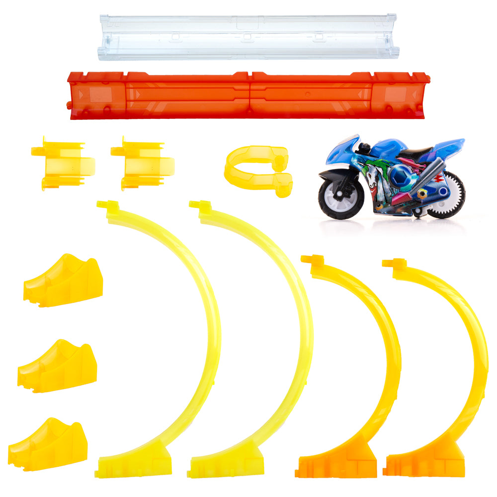 PROLOSO Push & Go Motorcycles Friction Powered Toy Cars Inertia High Speed Vehicles Tracks (Set B)