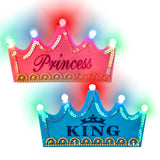 PROLOSO 10 Pack Birthday Hats Luminous Party Caps Flashing LED Princess King Crowns