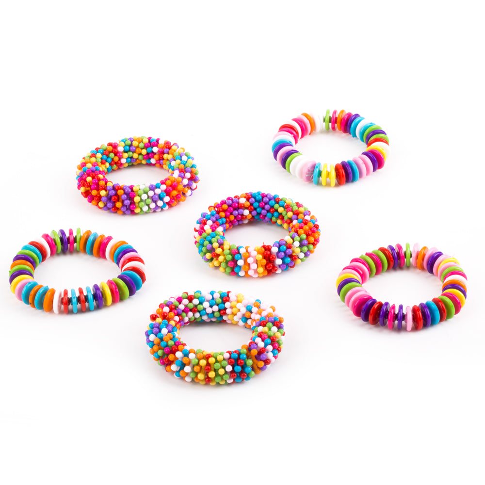 PROLOSO 6 Pack Colorful Bead Round PieceBracelets Elastic Party Favors Kids Pretend Play