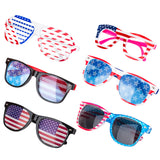 PROLOSO 6 Pack American Flag Glasses USA Patriotic plastic Decorative Sunglasses Eyewear
