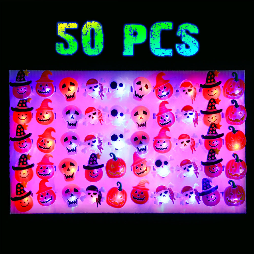 PROLOSO 50Pcs Halloween LED Flash Rings Light Up Party Favors Glow in The Dark Halloween Treats Cupcake Decoration