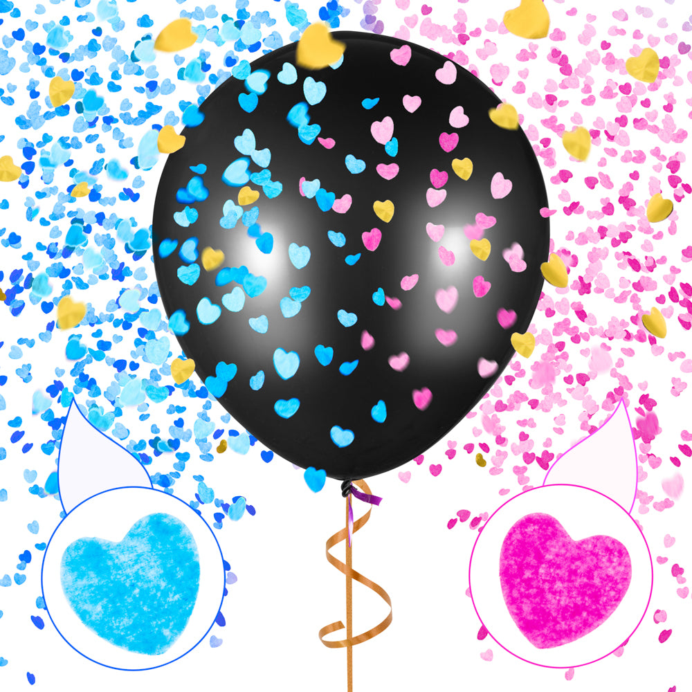 "PROLOSO 36"" Gender Reveal Balloons Baby Shower Black Jumbo with Pink & Blue Heart Shape Confetti"