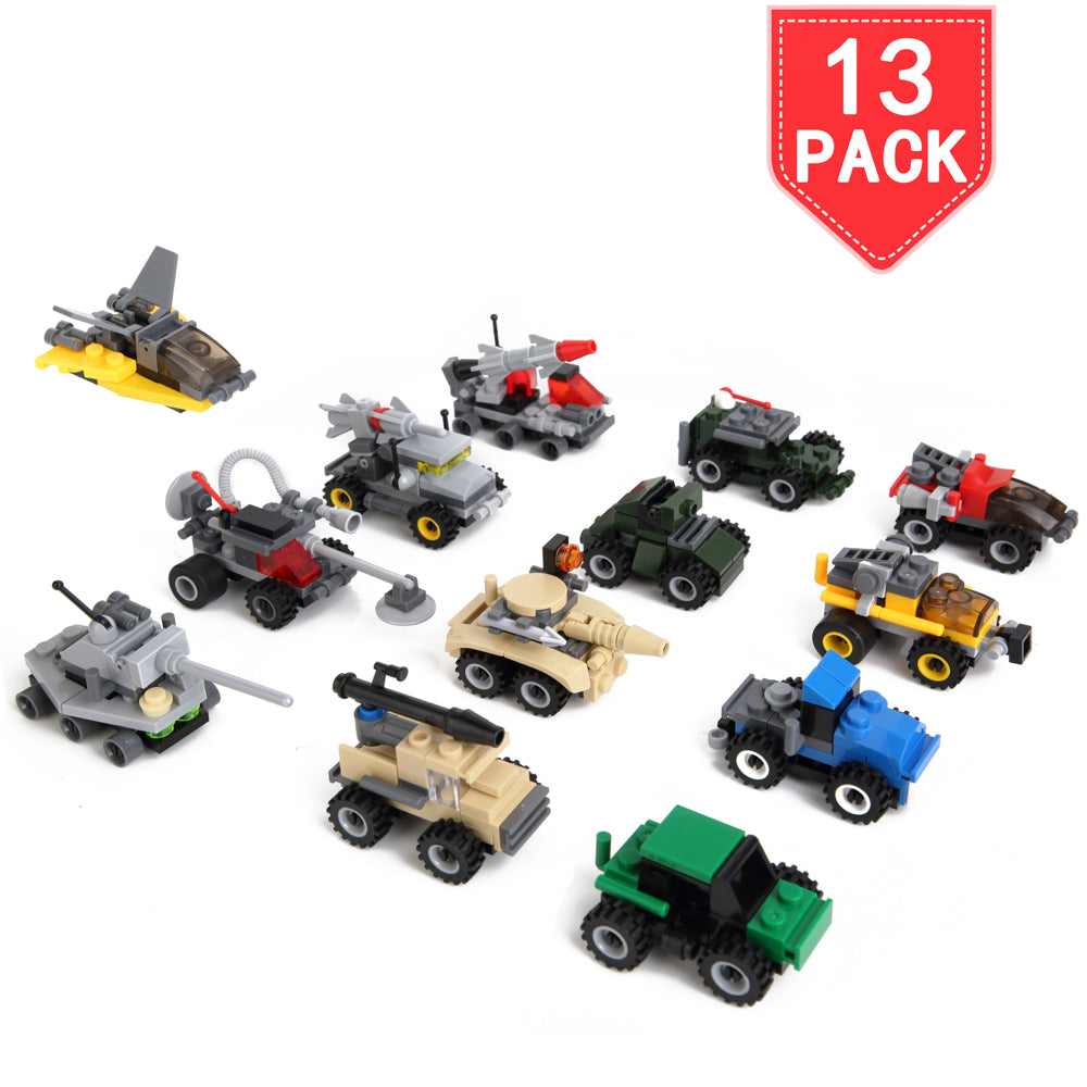 PROLOSO Building Blocks Set Military Vehicles Construction Racing Car Models Toy 13 Sets