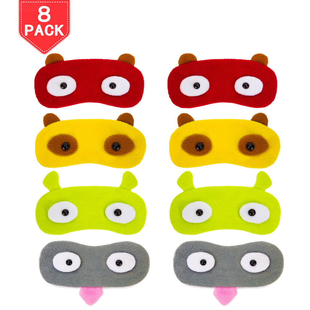 8 Pack Sleep Masks Cartoon Blindfold Eyepatch Eyeshade with Elastic Strap Big Eye Nap Cover 4 Colors