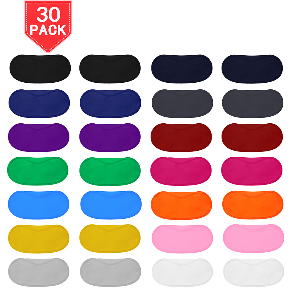 PROLOSO 30 Pack Sleep Masks Blindfold Eyepatch Eyeshade Cover with Nose Pad and Elastic Straps 15 Colors