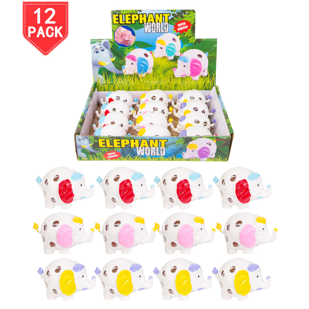 PROLOSO 12 Pack Squishy Toys Elephant Fidget Pressure Release Squeeze Water Beads