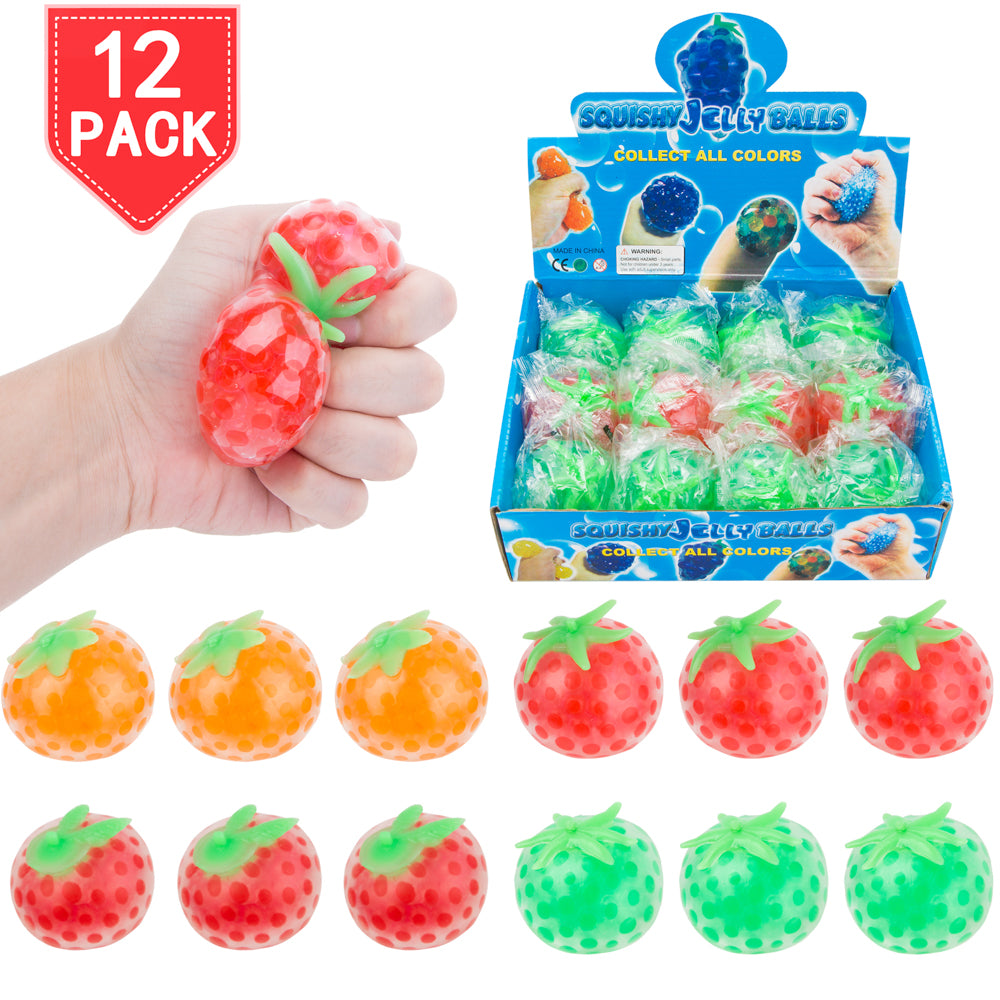 PROLOSO Squishy Fidget Toys Fruit Stress Relief Squeeze Water Beads 12 Pcs
