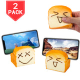 PROLOSO Slow Rising Squishy Toast Phone Holder Hand Pillow Stress Relief Bread Toy 2 Pcs