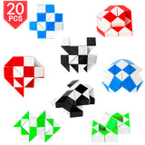 PROLOSO 20 Pack Snake Twist Puzzle Magic Ruler Fidget Toys Brain Teaser 24 Wedges