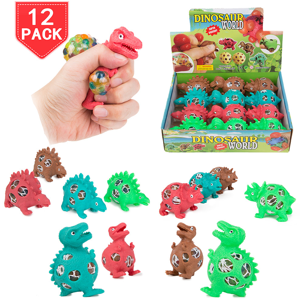 PROLOSO 12 Pack Squishy Toys Squeeze Fidget Mesh Dinosaur Release Stresses Water Beads