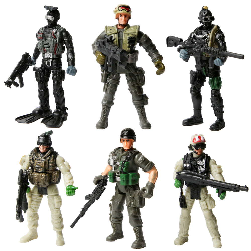PROLOSO Military Soliders Playset Army Men Toy Special Forces Action Figures SWAT Rangers 6 Pcs