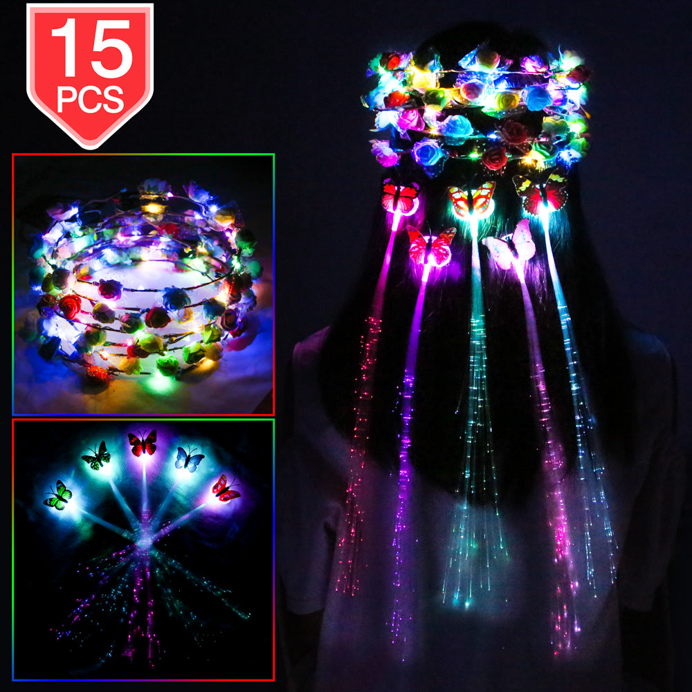 PROLOSO LED Lights Hair Flower Crown Set Light Up Foam Flower Wreath Headband Hair Barrettes Kit Glow in The Dark Headpiece Headdress Flash Braid Party Supplies 15 Pcs