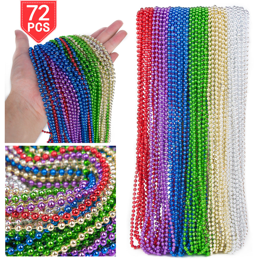 PROLOSO 72 Necklaces 33 inch Mardi Gras Beads Beaded Metallic Halloween Treat