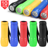PROLOSO Small Mini Flashlight Assorted with Lanyard for Kids Light Up Toy Party Favors Pack (10 pcs)
