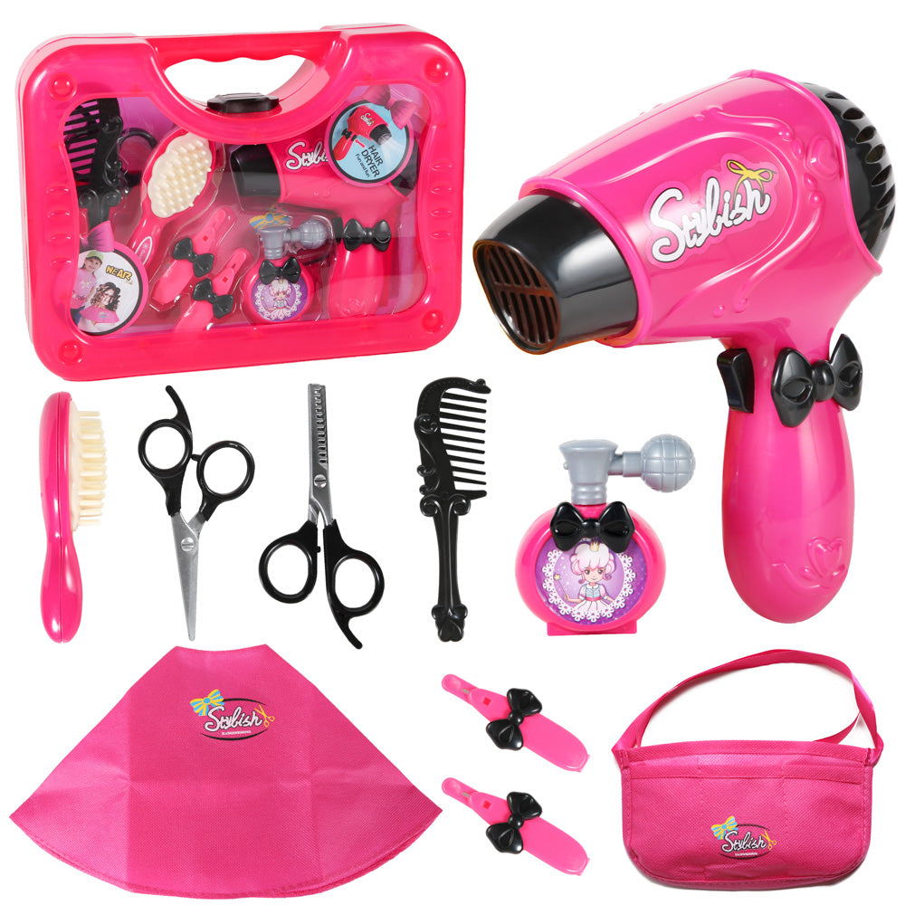 PROLOSO 10 Pcs Beauty Hair Stylist Set Vanity Accessories for Little Girls Doll Salon Fashion Pretend Play Toy Kit with Storage Case