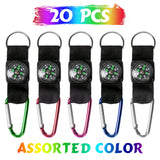 PROLOSO Carabiner Compass Keychain Belt Clips Kids Toys Prizes Outdoors Adventure Party Favors 20 Pcs