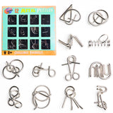 PROLOSO 12 Pcs Brain Teasers for Kids Adults Metal Wire Puzzle Disentanglement Game IQ Test Metal Fidget Toys