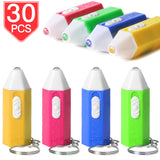 PROLOSO Mini Flashlights Key Chain Ring Light Up Toy Crayon Pencil Shaped Electric Torch Kids Party Favors Bulk Pack of 30