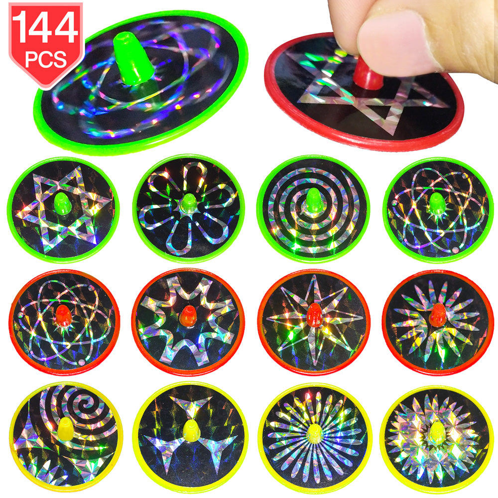 PROLOSO 144 Pieces Spin Toys Bulk Mini Spinning Tops Stocking Stuffers Pinata Fillers Party Favors for Kids