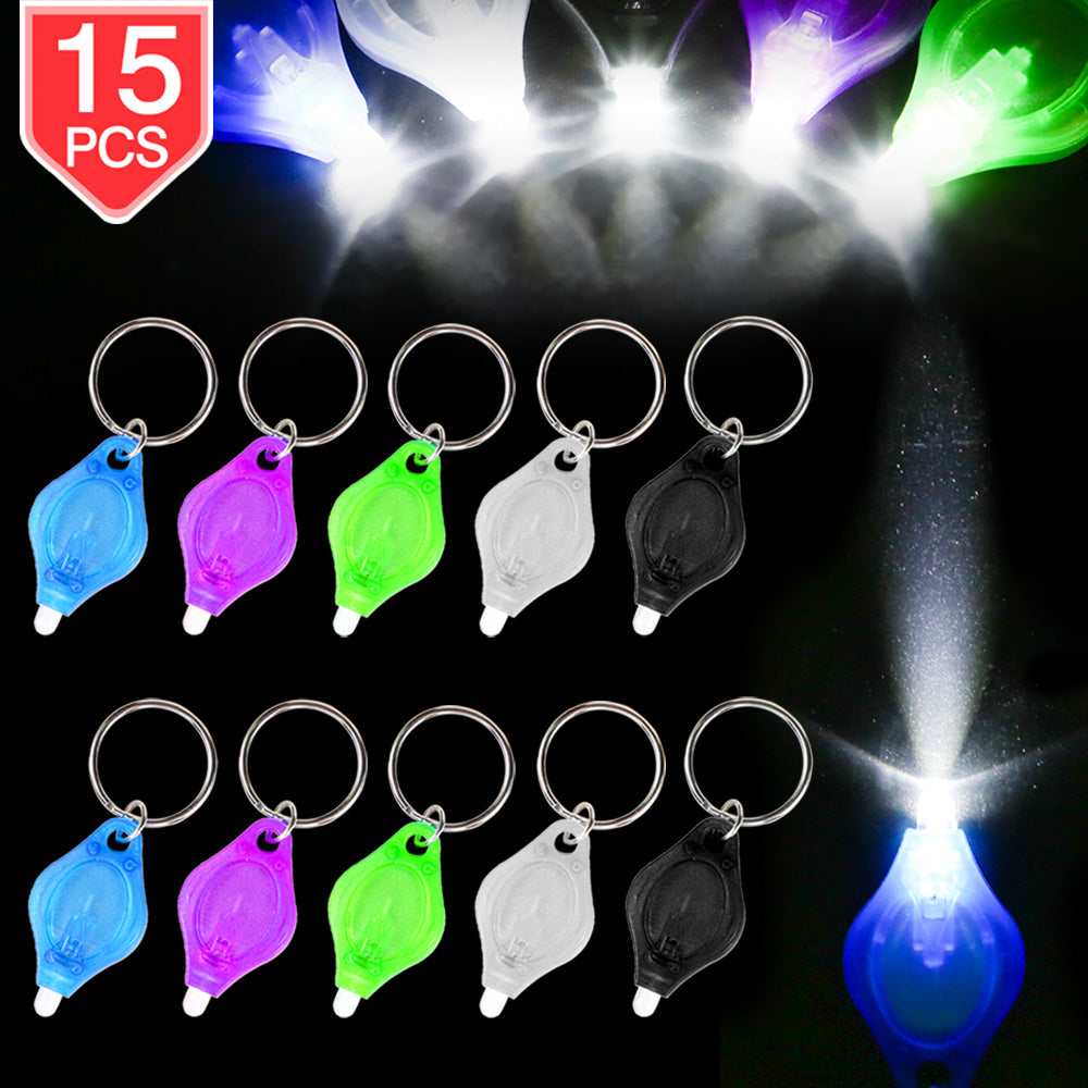 PROLOSO 15 Pcs Mini Flashlights Keychain LED Pocket Flashlights Key Rings Kids Party Favor Toys