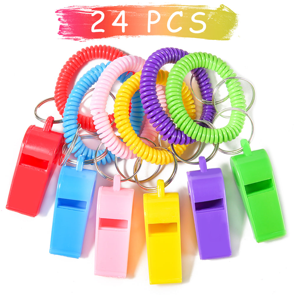 PRLOSO 24 Pieces Whistle Bracelets with Keychain for Kids Party Favors Noisemaker Plastic Sports Party Whistle Toys Bulk