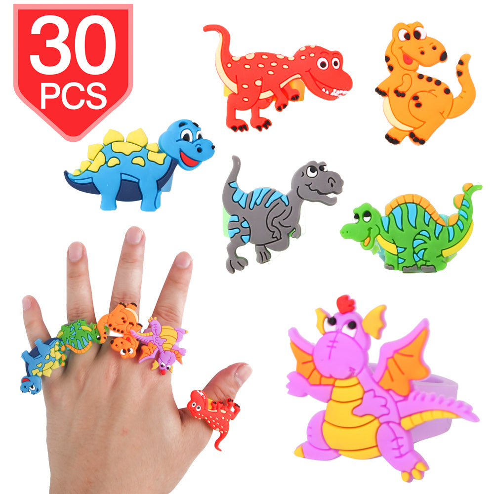 PROLOSO Dinosaur Finger Rings Kids Toys Classroom Prizes Birthday Gift Party Favors 30 Pcs