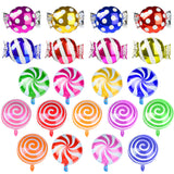 PROLOSO Sweet Candy Balloons Round Lollipop Mylar Foil Balloon Birthday Party Decoration 21 Pieces