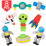 PROLOSO Pencil Erasers Outer Space Cartoon Toy Eraser Space Party Favors