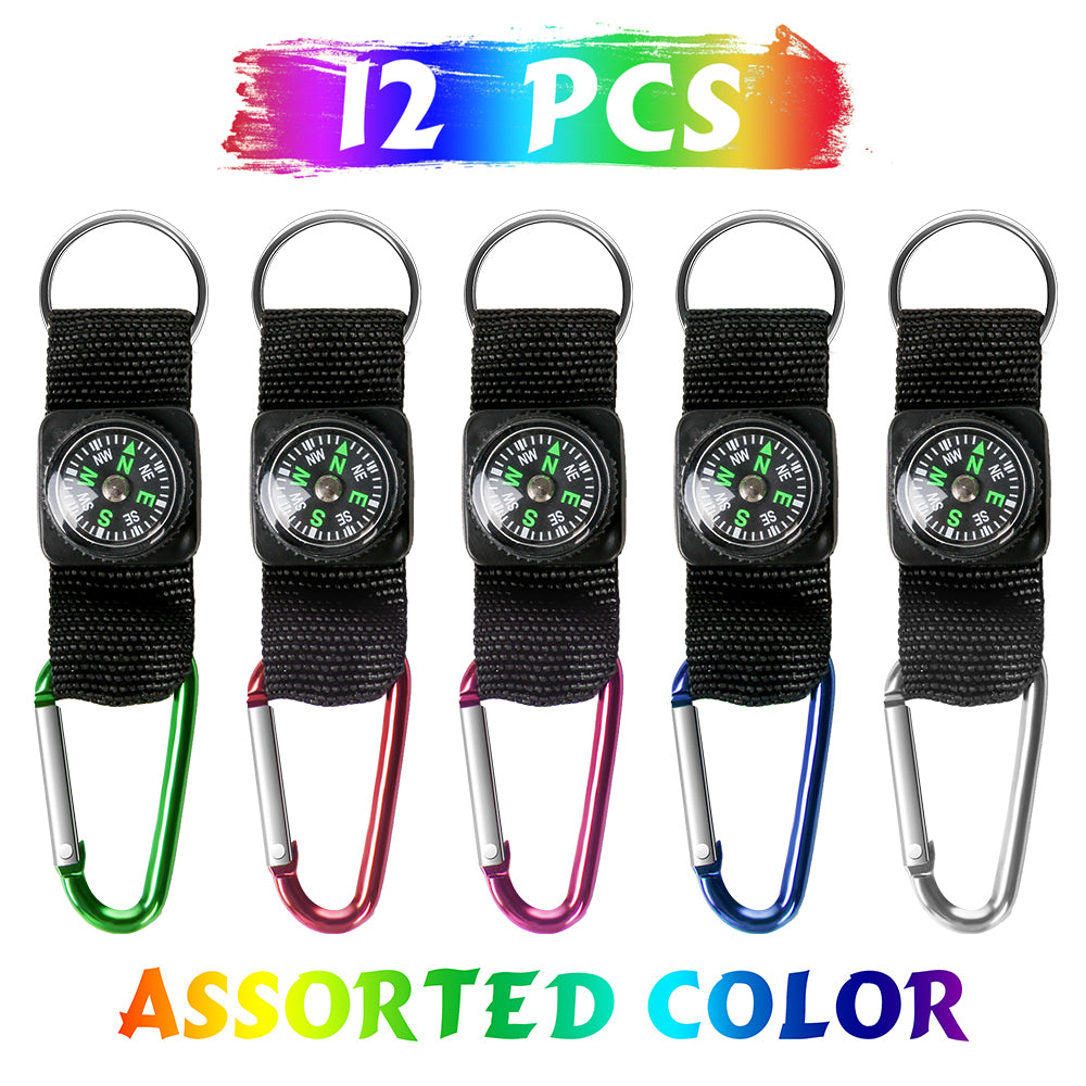PROLOSO Carabiner Compass Keychain Belt Clips Party Favors Kids Scouts Gifts Outdoor Camping Accessories 12 Pcs