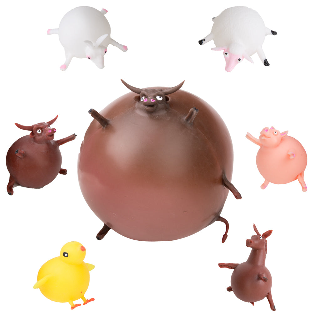 PROLOSO Animal Balloons Squishy Fidget Toys with Inflation Tubes Pack of 6