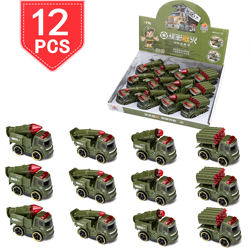 PROLOSO Push & Go Military Vehicles Friction Powered Cars Inertia Army Toys 12 Pcs