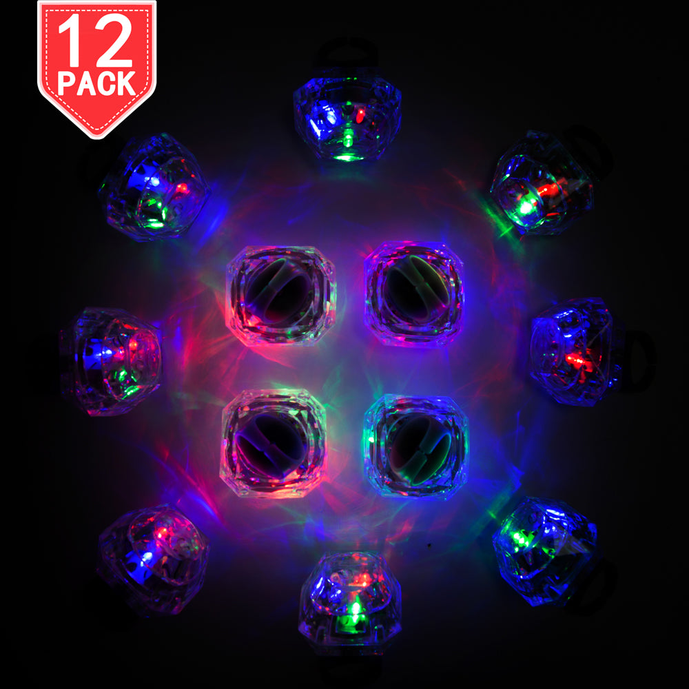 PROLOSO 12 Pcs LED Rings Light Up Flashing Diamond Glow in The Dark Party Favors Flashing Jewelry