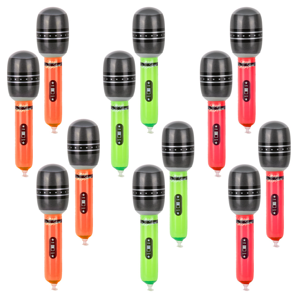 PROLOSO Inflatable Microphones for kids Party Props Micphone Balloons Stage Act Toys Mic Props for Pretend Play Party Favors Supplies 12 Pack